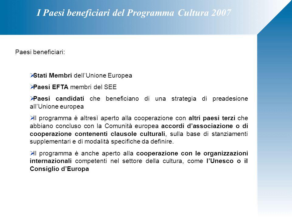 I Paesi beneficiari del Programma Cultura 2007 Paesi beneficiari:  Stati Membri dell'Unione Europea  Paesi EFTA membri del SEE  Paesi candidati che