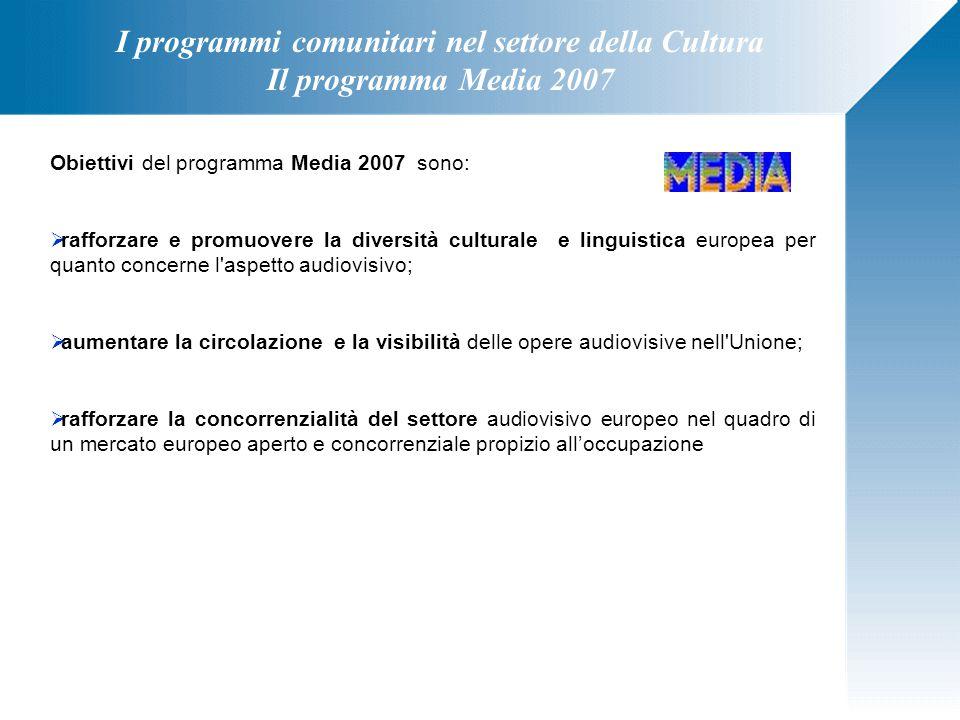 I programmi comunitari nel settore della Cultura Il programma Media 2007 Obiettivi del programma Media 2007 sono:  rafforzare e promuovere la diversi