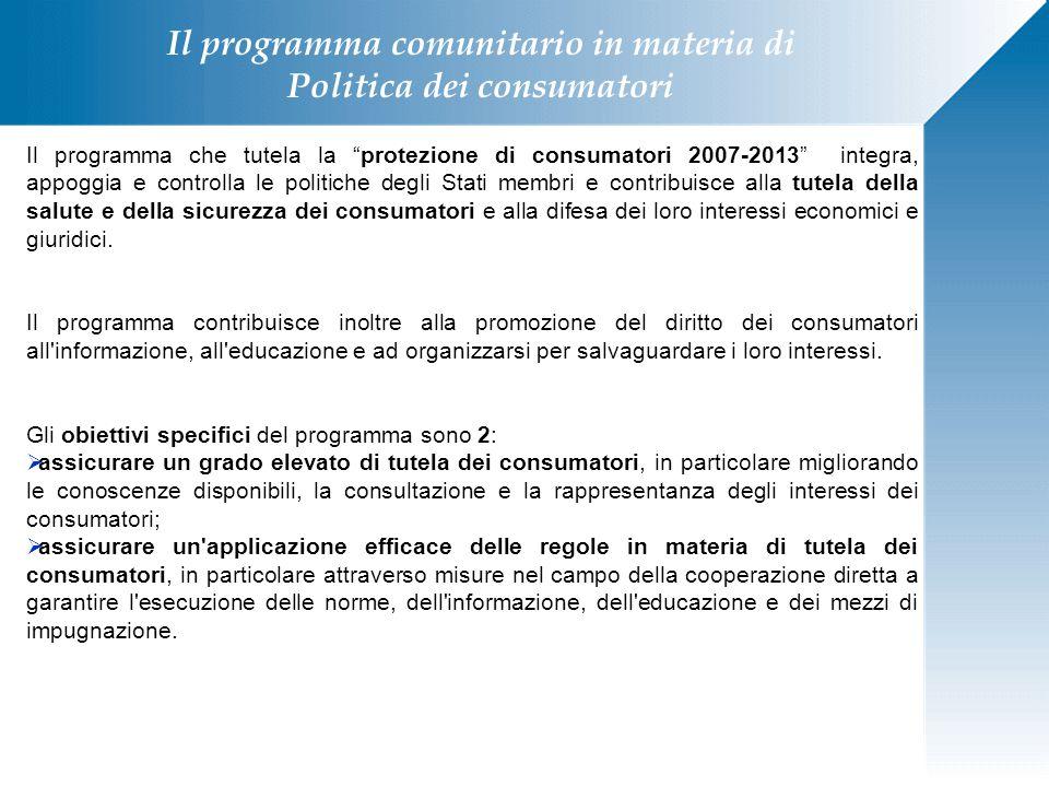 """Il programma che tutela la """"protezione di consumatori 2007-2013"""" integra, appoggia e controlla le politiche degli Stati membri e contribuisce alla tut"""