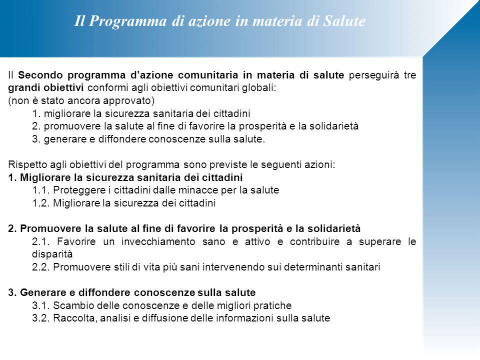 Il Secondo programma d'azione comunitaria in materia di salute perseguirà tre grandi obiettivi conformi agli obiettivi comunitari globali: (non è stat