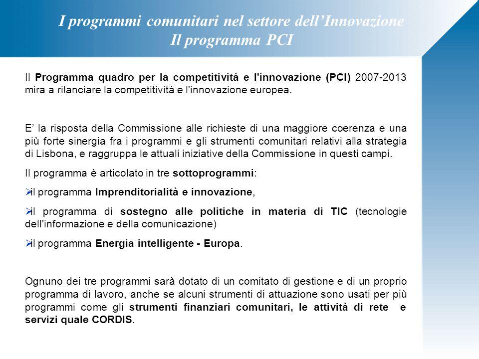 I programmi comunitari nel settore dell'Innovazione Il programma PCI Il Programma quadro per la competitività e l'innovazione (PCI) 2007-2013 mira a r