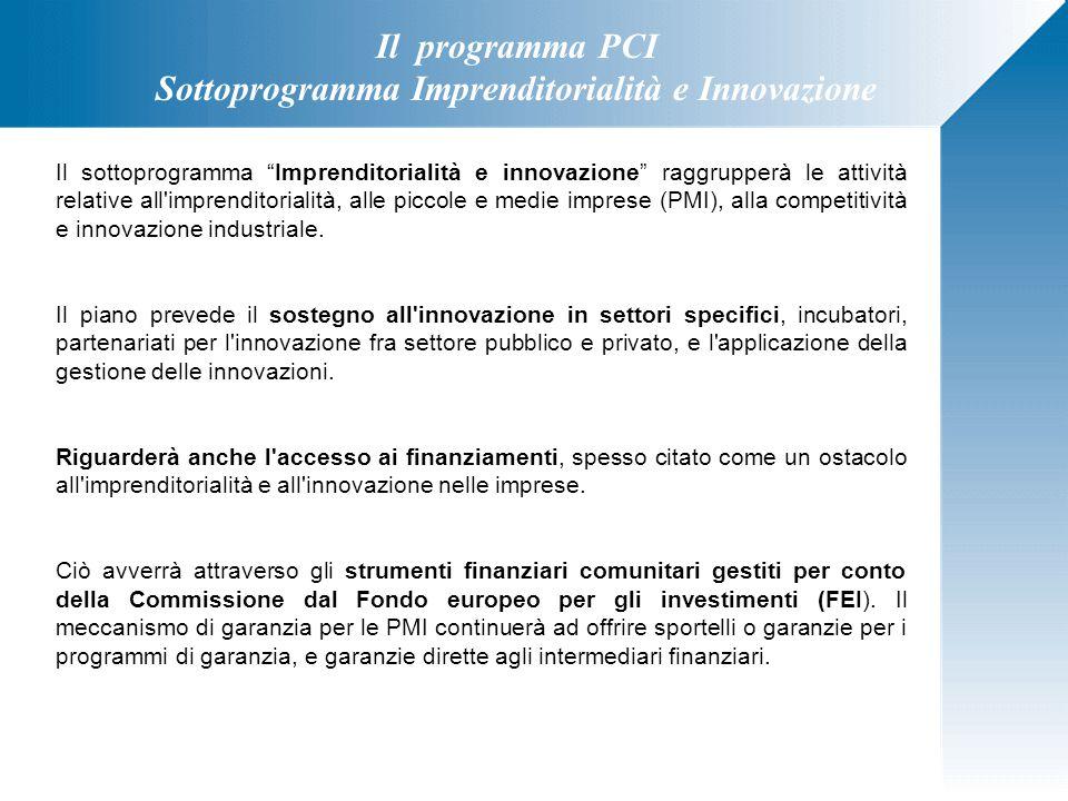 """Il programma PCI Sottoprogramma Imprenditorialità e Innovazione Il sottoprogramma """"Imprenditorialità e innovazione"""" raggrupperà le attività relative a"""