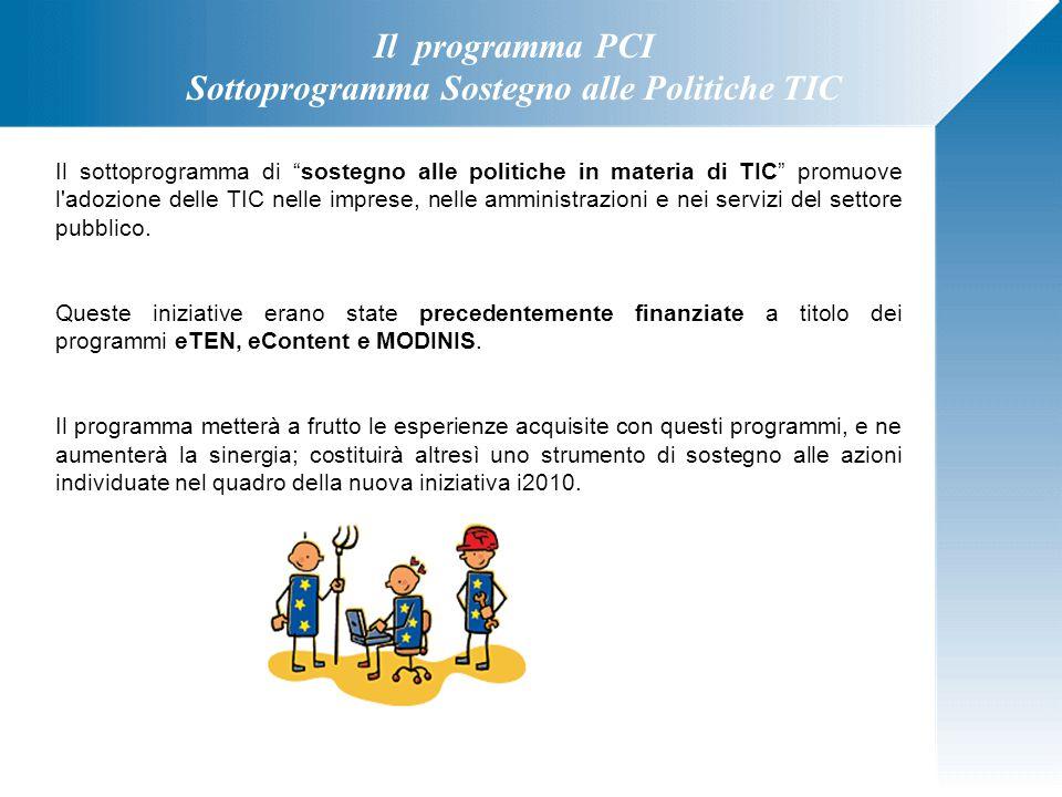 """Il programma PCI Sottoprogramma Sostegno alle Politiche TIC Il sottoprogramma di """"sostegno alle politiche in materia di TIC"""" promuove l'adozione delle"""