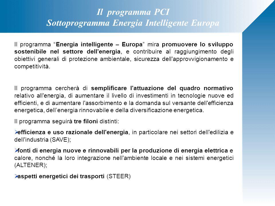 """Il programma PCI Sottoprogramma Energia Intelligente Europa Il programma """"Energia intelligente – Europa"""" mira promuovere lo sviluppo sostenibile nel s"""