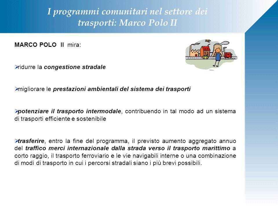 I programmi comunitari nel settore dei trasporti: Marco Polo II MARCO POLO II mira:  ridurre la congestione stradale  migliorare le prestazioni ambi