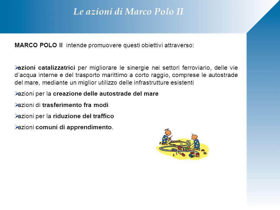 Le azioni di Marco Polo II MARCO POLO II intende promuovere questi obiettivi attraverso:  azioni catalizzatrici per migliorare le sinergie nei settor