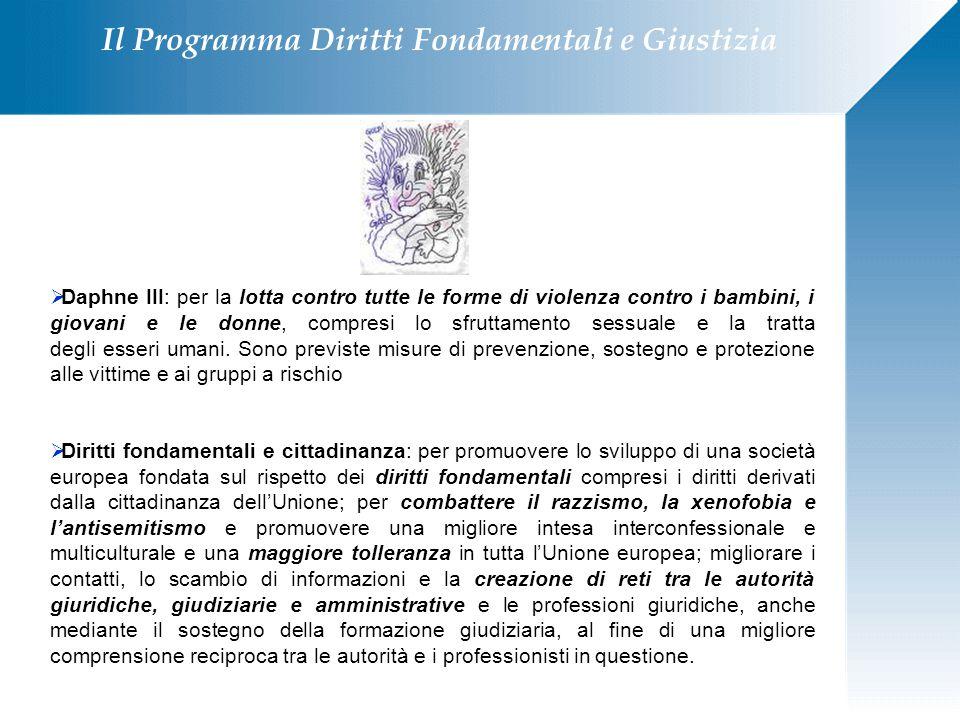 Il Programma Diritti Fondamentali e Giustizia  Daphne III: per la lotta contro tutte le forme di violenza contro i bambini, i giovani e le donne, com