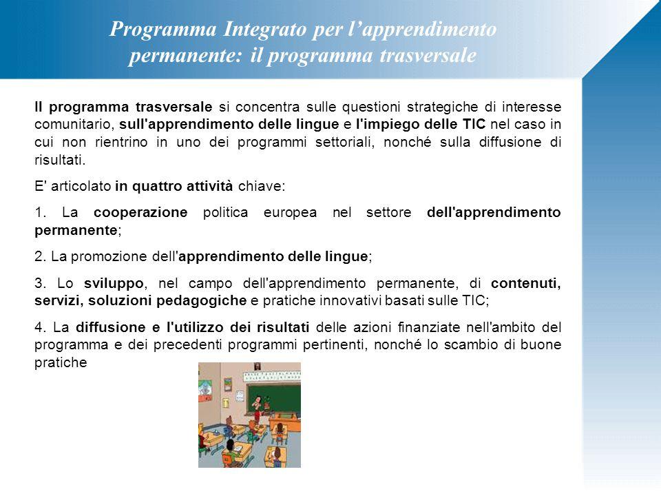 Programma Integrato per l'apprendimento permanente: il programma Jean Monnet Il programma Jean Monnet è incentrato sulla dimensione accademica dell'integrazione europea e prevede le tre seguenti attività chiave: 1.Azione Jean Monnet a sostegno di attività di insegnamento e ricerca sull'integrazione europea; 2.Sovvenzioni di funzionamento a sostegno di istituzioni specifiche che trattano temi connessi all integrazione europea; 3.Sovvenzioni di funzionamento a sostegno di istituzioni e associazioni europee attive nel campo dell istruzione e della formazione, nonché lo scambio di buone pratiche