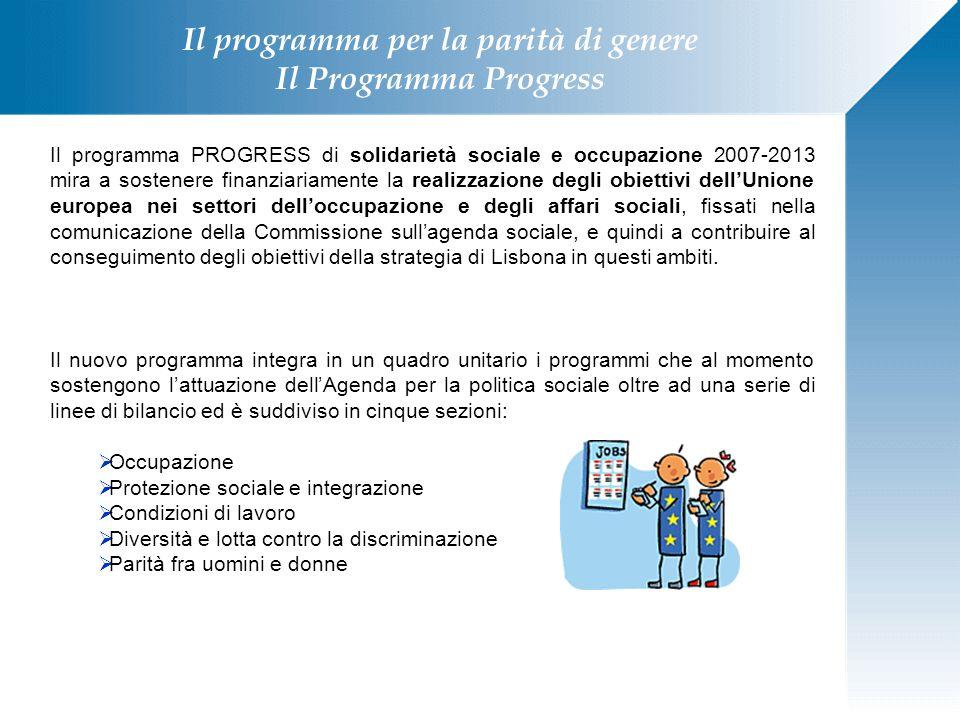 Il programma per la parità di genere Il Programma Progress Il programma PROGRESS di solidarietà sociale e occupazione 2007-2013 mira a sostenere finan