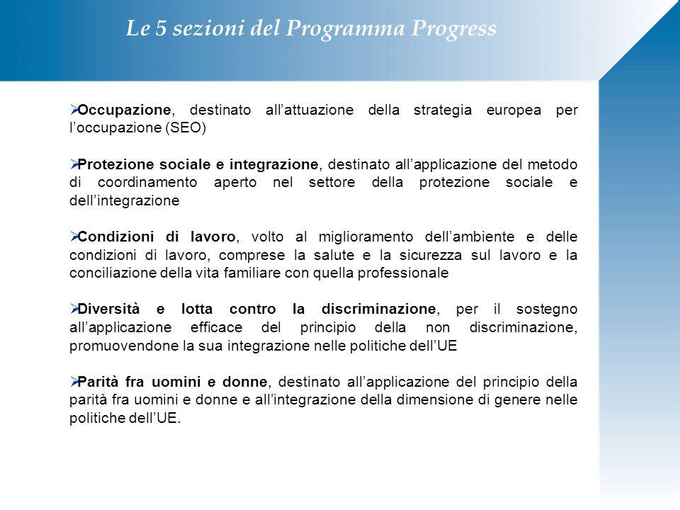 Le 5 sezioni del Programma Progress  Occupazione, destinato all'attuazione della strategia europea per l'occupazione (SEO)  Protezione sociale e int