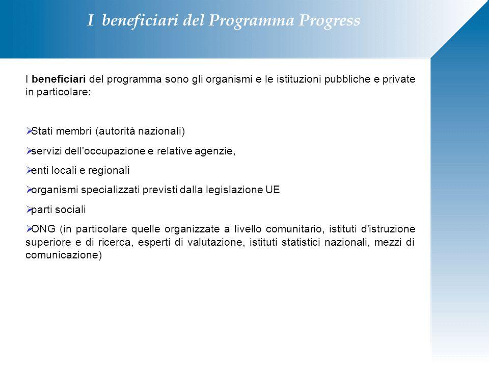 I beneficiari del Programma Progress I beneficiari del programma sono gli organismi e le istituzioni pubbliche e private in particolare:  Stati membr