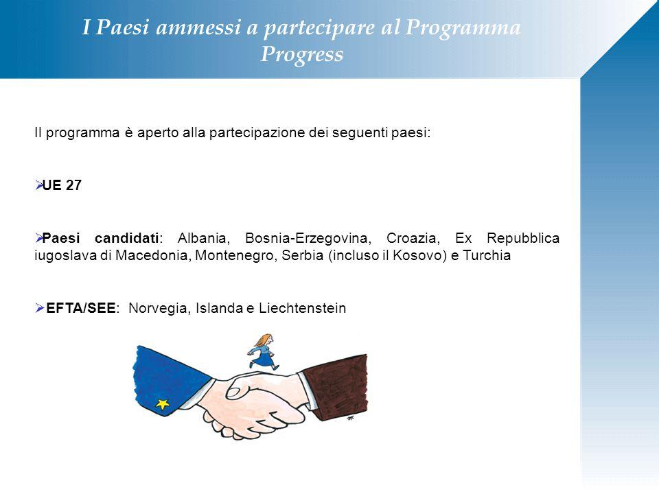 I Paesi ammessi a partecipare al Programma Progress Il programma è aperto alla partecipazione dei seguenti paesi:  UE 27  Paesi candidati: Albania,