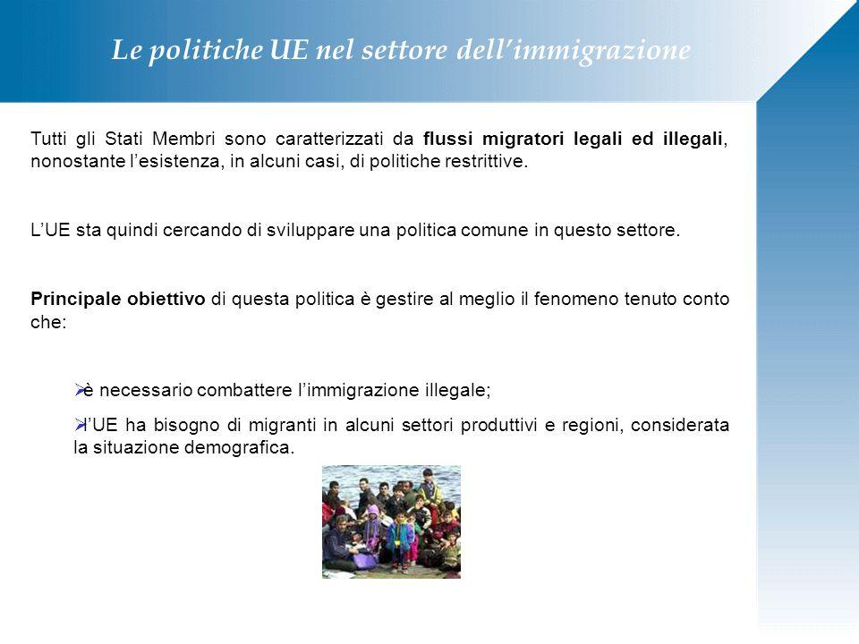Le politiche UE nel settore dell'immigrazione Tutti gli Stati Membri sono caratterizzati da flussi migratori legali ed illegali, nonostante l'esistenz