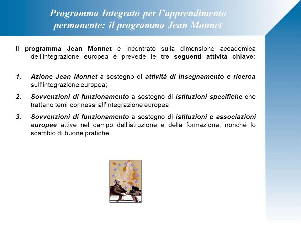 Programma Integrato per l'apprendimento permanente: il programma Jean Monnet Il programma Jean Monnet è incentrato sulla dimensione accademica dell'in