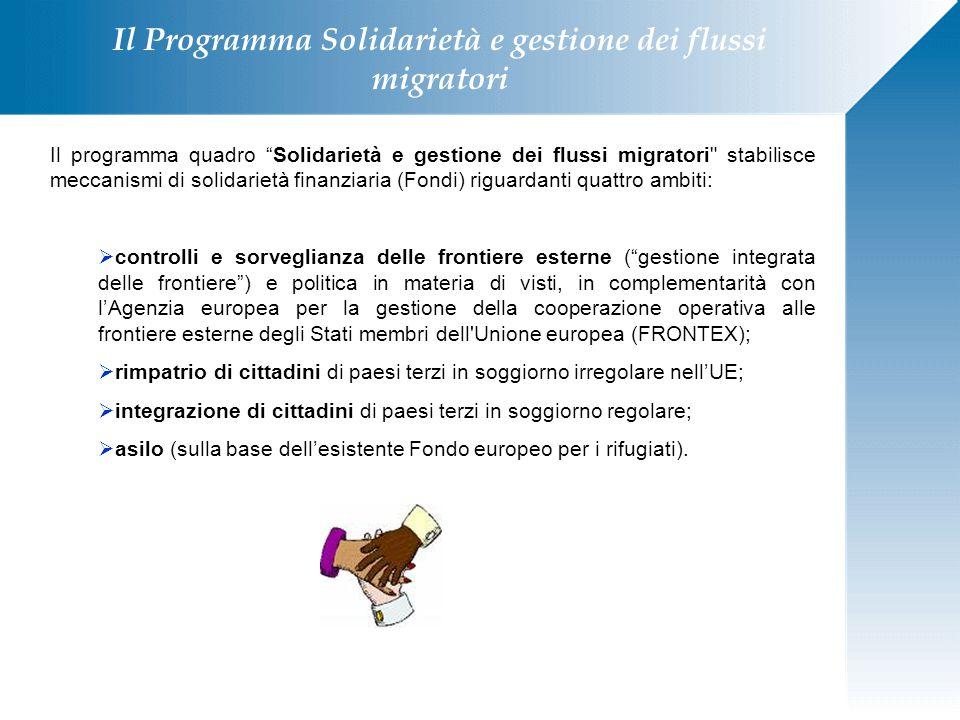 """Il Programma Solidarietà e gestione dei flussi migratori Il programma quadro """"Solidarietà e gestione dei flussi migratori"""