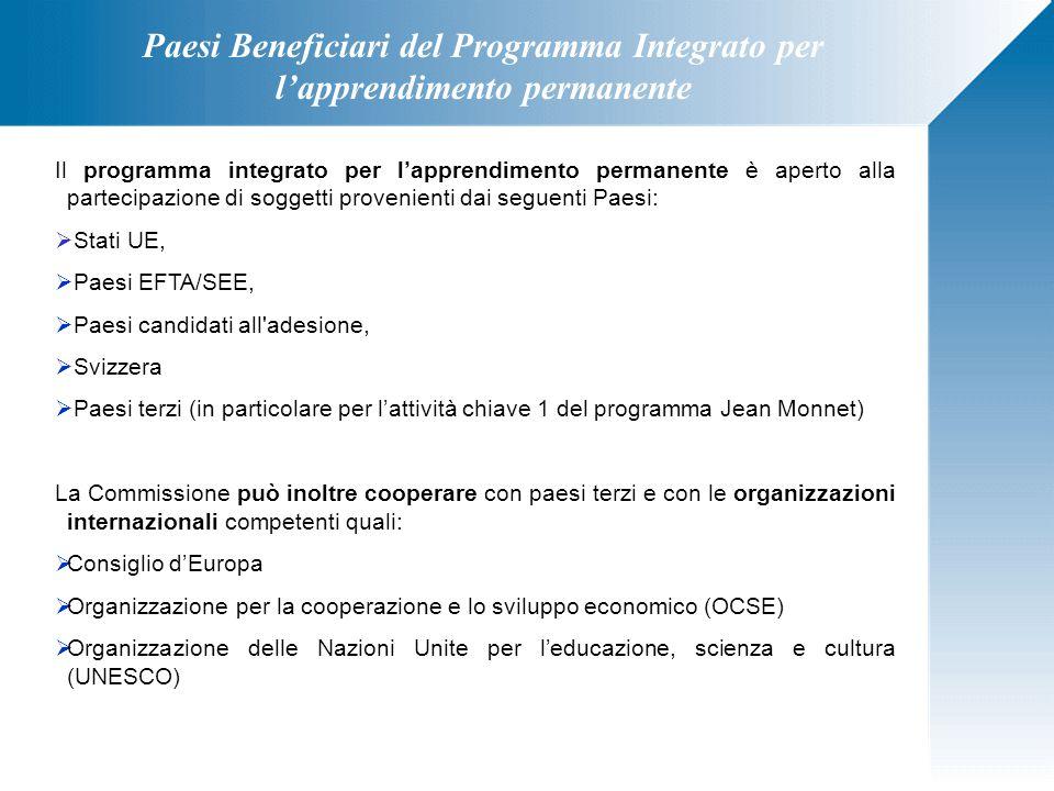 Paesi Beneficiari del Programma Integrato per l'apprendimento permanente Il programma integrato per l'apprendimento permanente è aperto alla partecipa