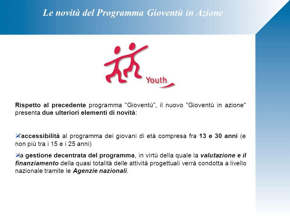 Le novità del Programma Gioventù in Azione Rispetto al precedente programma