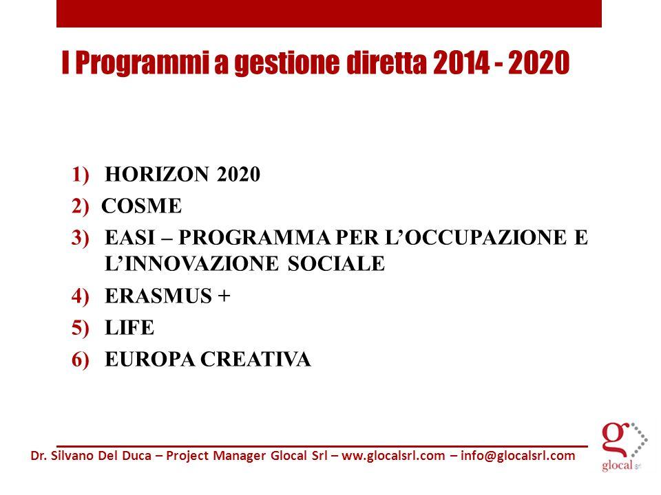 1)HORIZON 2020 2) COSME 3)EASI – PROGRAMMA PER L'OCCUPAZIONE E L'INNOVAZIONE SOCIALE 4)ERASMUS + 5)LIFE 6)EUROPA CREATIVA Dr.