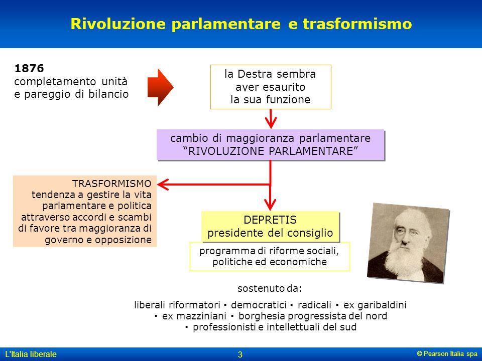 © Pearson Italia spa L'Italia liberale 3 programma di riforme sociali, politiche ed economiche Rivoluzione parlamentare e trasformismo 1876 completame