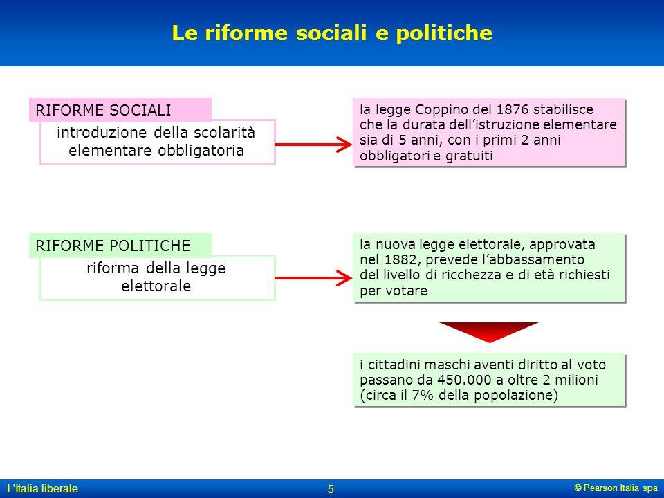 © Pearson Italia spa L'Italia liberale 5 Le riforme sociali e politiche RIFORME SOCIALI introduzione della scolarità elementare obbligatoria RIFORME P