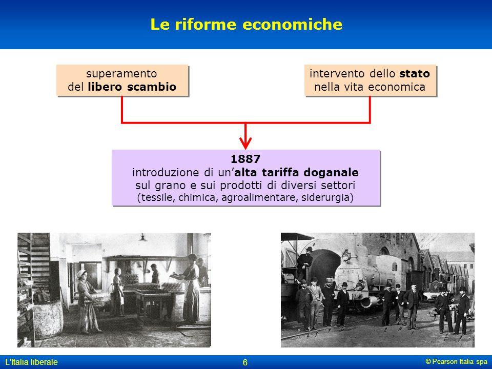 © Pearson Italia spa L'Italia liberale 6 Le riforme economiche superamento del libero scambio intervento dello stato nella vita economica 1887 introdu
