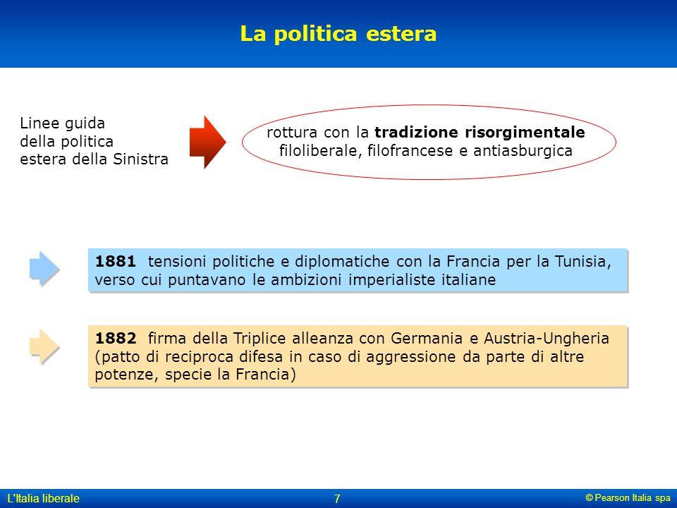 © Pearson Italia spa L'Italia liberale 7 La politica estera Linee guida della politica estera della Sinistra rottura con la tradizione risorgimentale