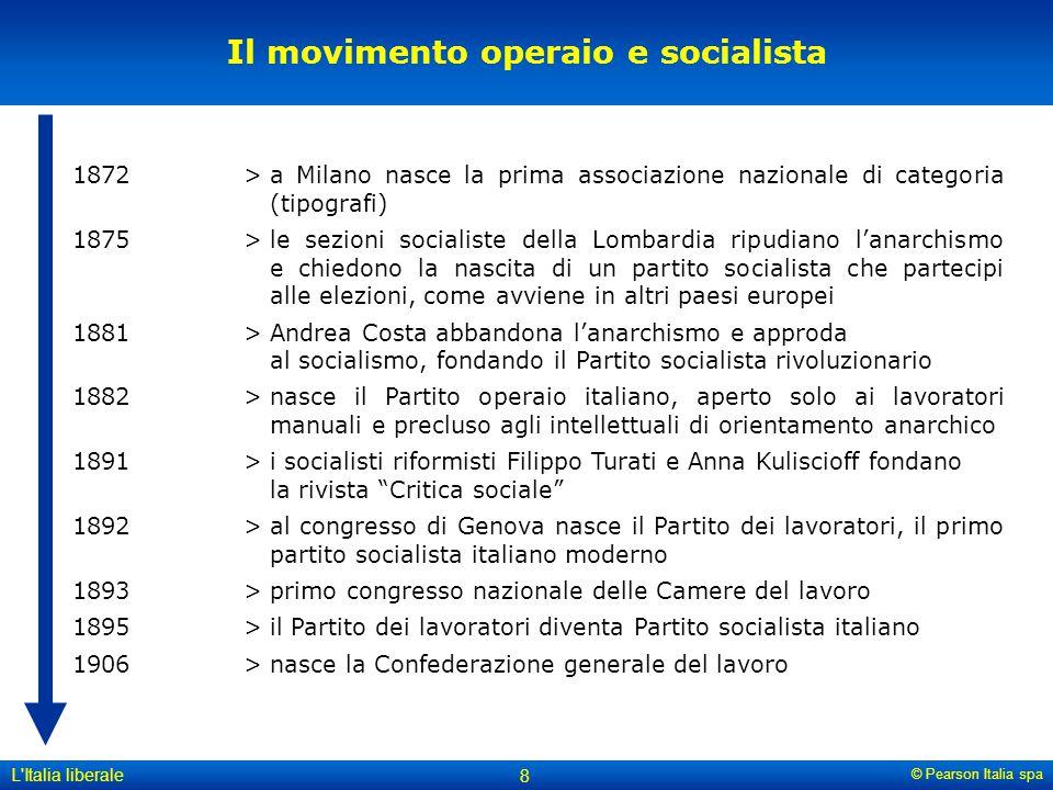 © Pearson Italia spa L'Italia liberale 8 Il movimento operaio e socialista 1872>a Milano nasce la prima associazione nazionale di categoria (tipografi