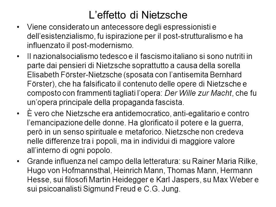 L'effetto di Nietzsche Viene considerato un antecessore degli espressionisti e dell'esistenzialismo, fu ispirazione per il post-strutturalismo e ha influenzato il post-modernismo.