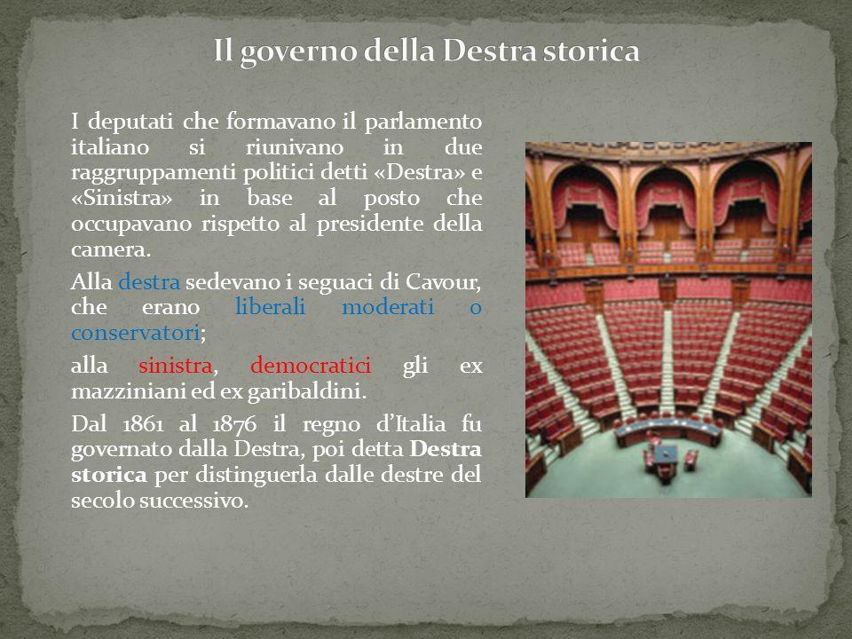I deputati che formavano il parlamento italiano si riunivano in due raggruppamenti politici detti «Destra» e «Sinistra» in base al posto che occupavan