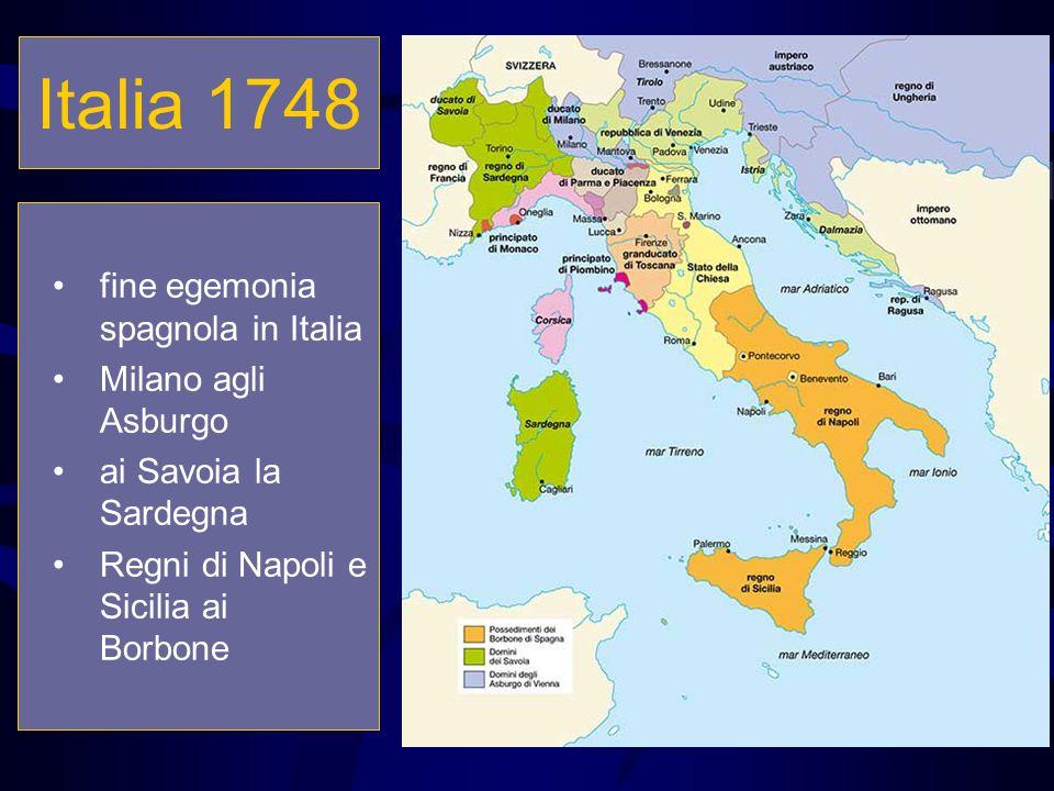 Italia 1748 fine egemonia spagnola in Italia Milano agli Asburgo ai Savoia la Sardegna Regni di Napoli e Sicilia ai Borbone