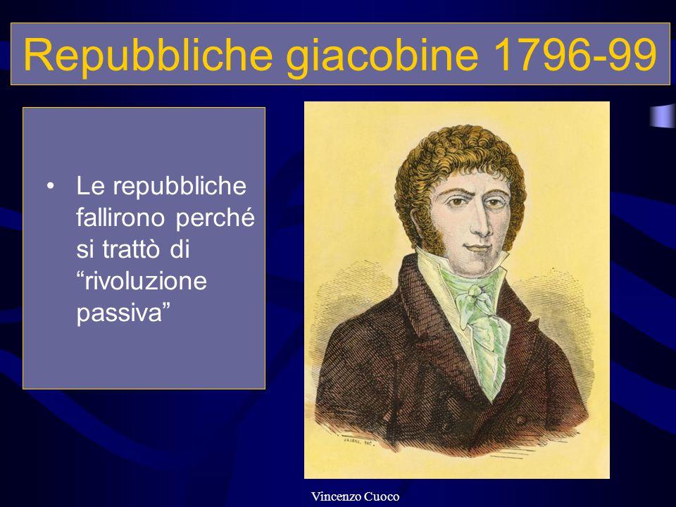 """Repubbliche giacobine 1796-99 Le repubbliche fallirono perché si trattò di """"rivoluzione passiva"""" Vincenzo Cuoco"""