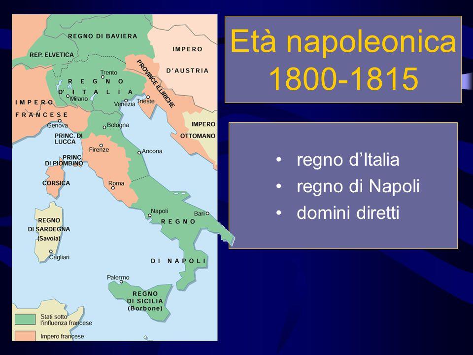 Età napoleonica 1800-1815 regno d'Italia regno di Napoli domini diretti