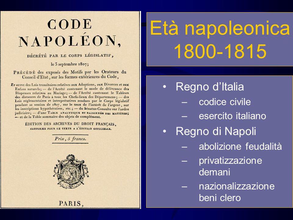 Età napoleonica 1800-1815 Regno d'Italia –codice civile –esercito italiano Regno di Napoli –abolizione feudalità –privatizzazione demani –nazionalizza