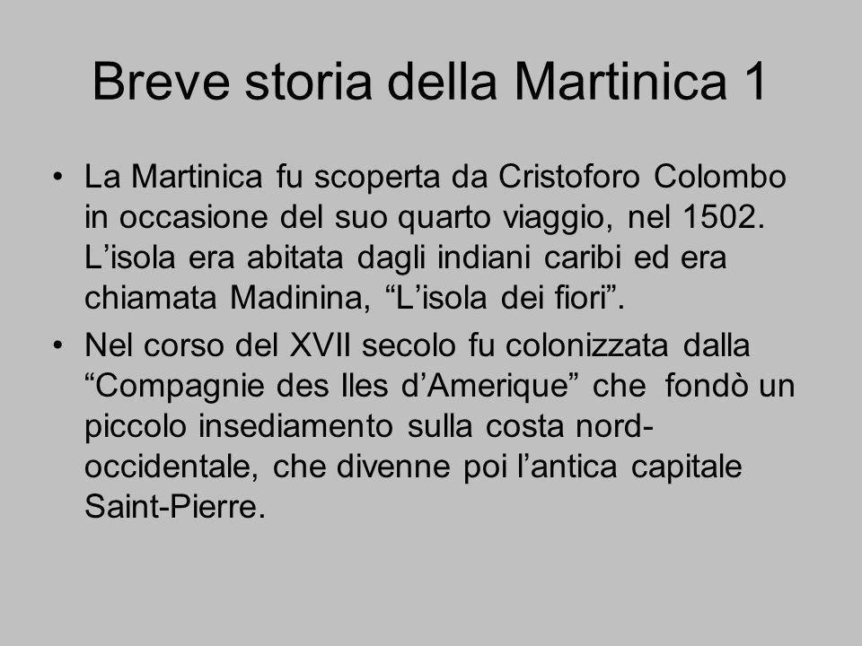 Breve storia della Martinica 1 La Martinica fu scoperta da Cristoforo Colombo in occasione del suo quarto viaggio, nel 1502. L'isola era abitata dagli