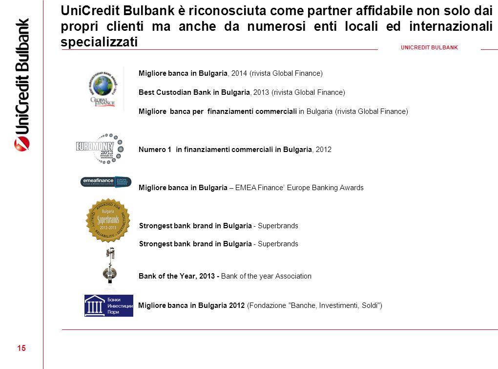 15 Migliore banca in Bulgaria, 2014 (rivista Global Finance) Best Custodian Bank in Bulgaria, 2013 (rivista Global Finance) Migliore banca per finanzi
