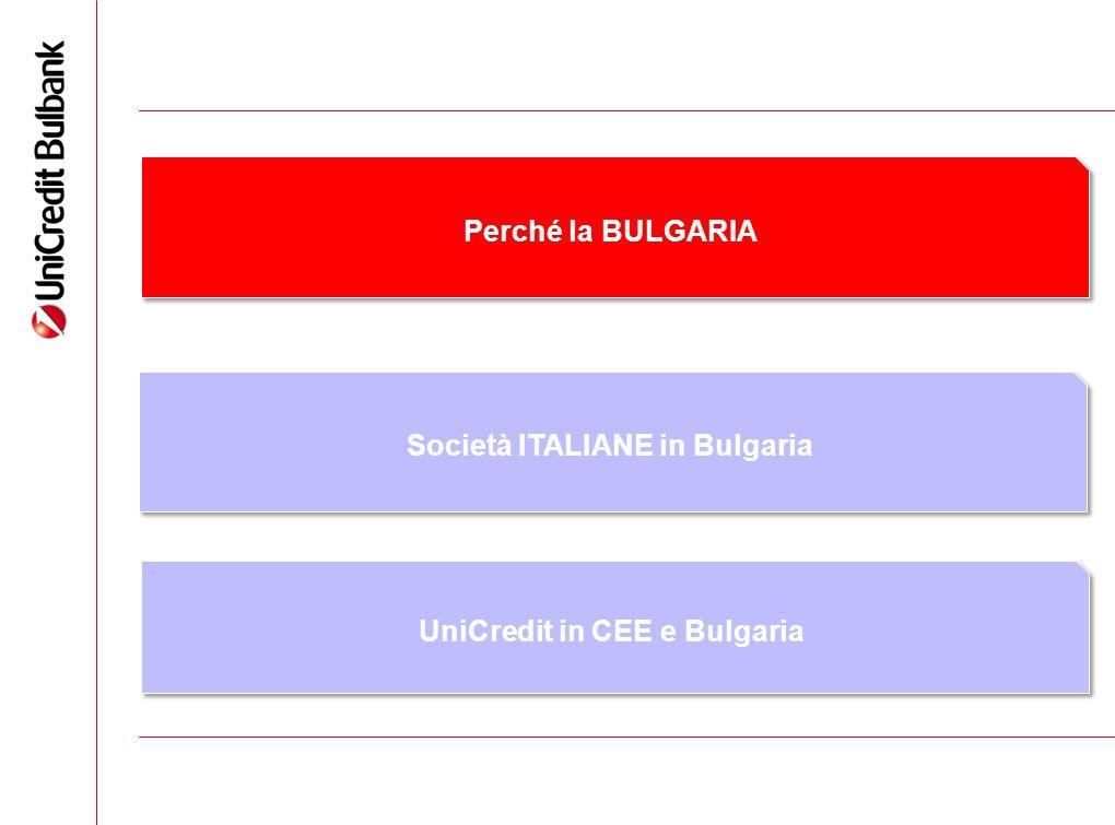 2 Perché la BULGARIA Società ITALIANE in Bulgaria UniCredit in CEE e Bulgaria