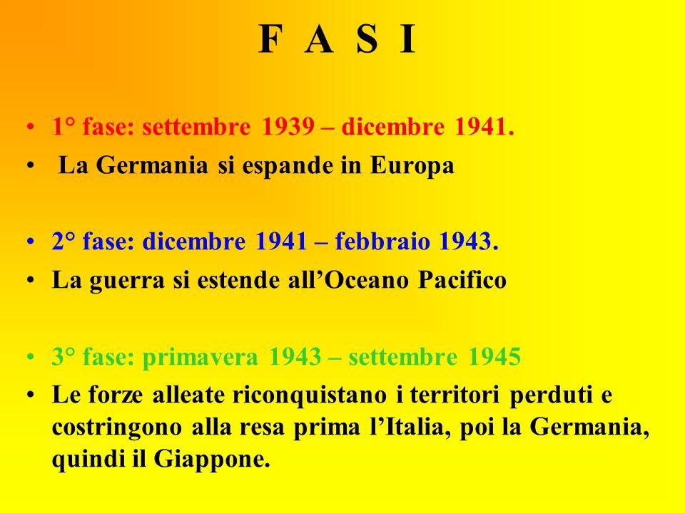 F A S I 1° fase: settembre 1939 – dicembre 1941. La Germania si espande in Europa 2° fase: dicembre 1941 – febbraio 1943. La guerra si estende all'Oce