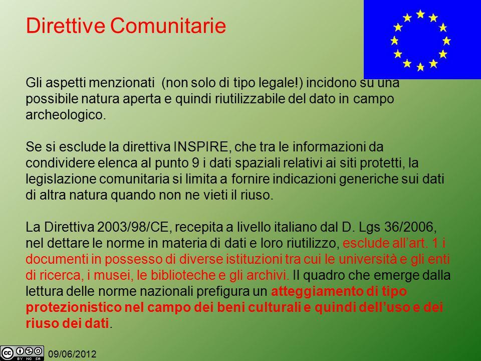09/06/2012 Direttive Comunitarie Gli aspetti menzionati (non solo di tipo legale!) incidono su una possibile natura aperta e quindi riutilizzabile del dato in campo archeologico.