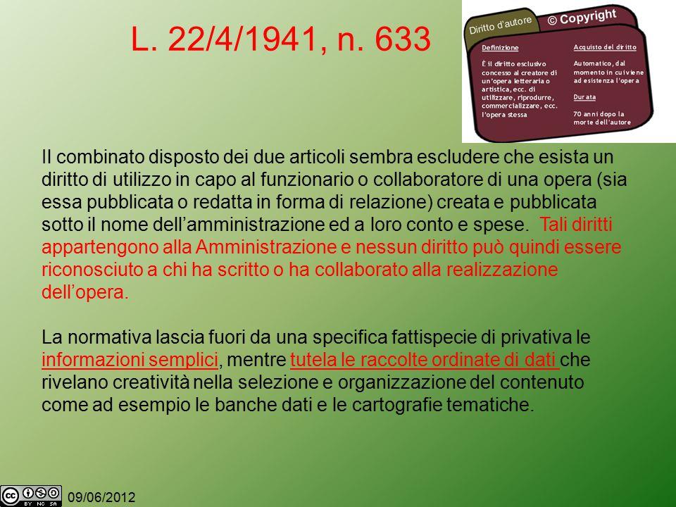 09/06/2012 L. 22/4/1941, n.