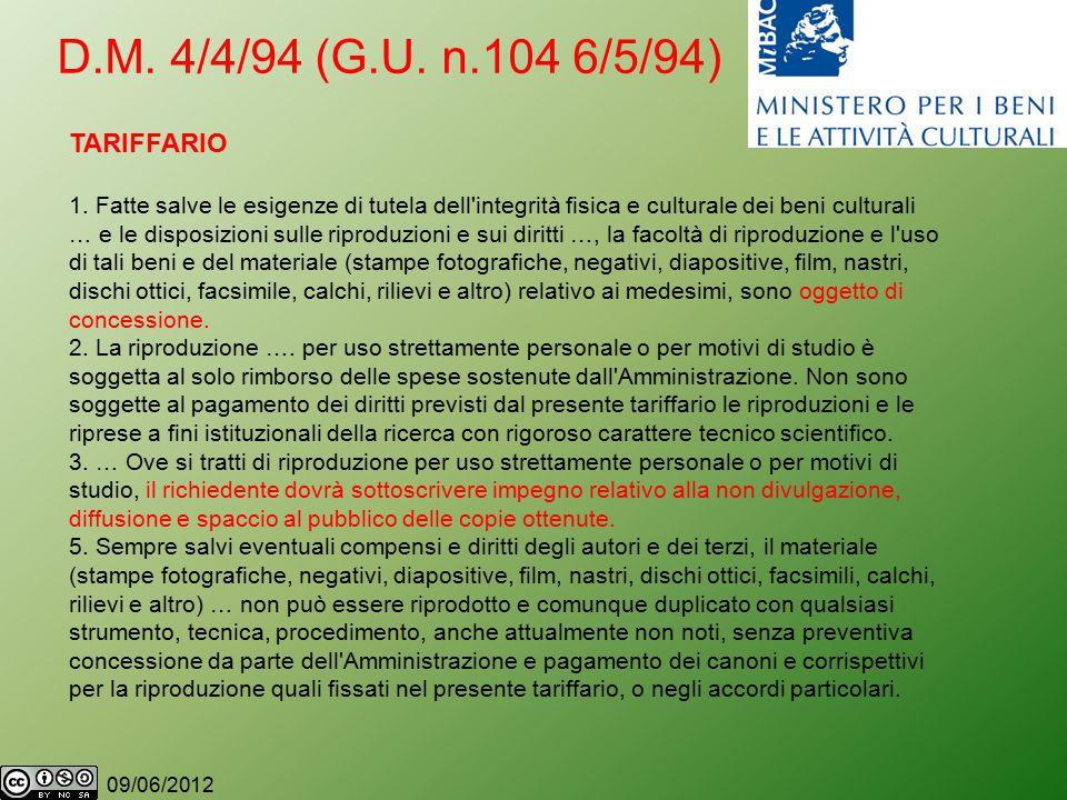 09/06/2012 D.M. 4/4/94 (G.U. n.104 6/5/94) TARIFFARIO 1.