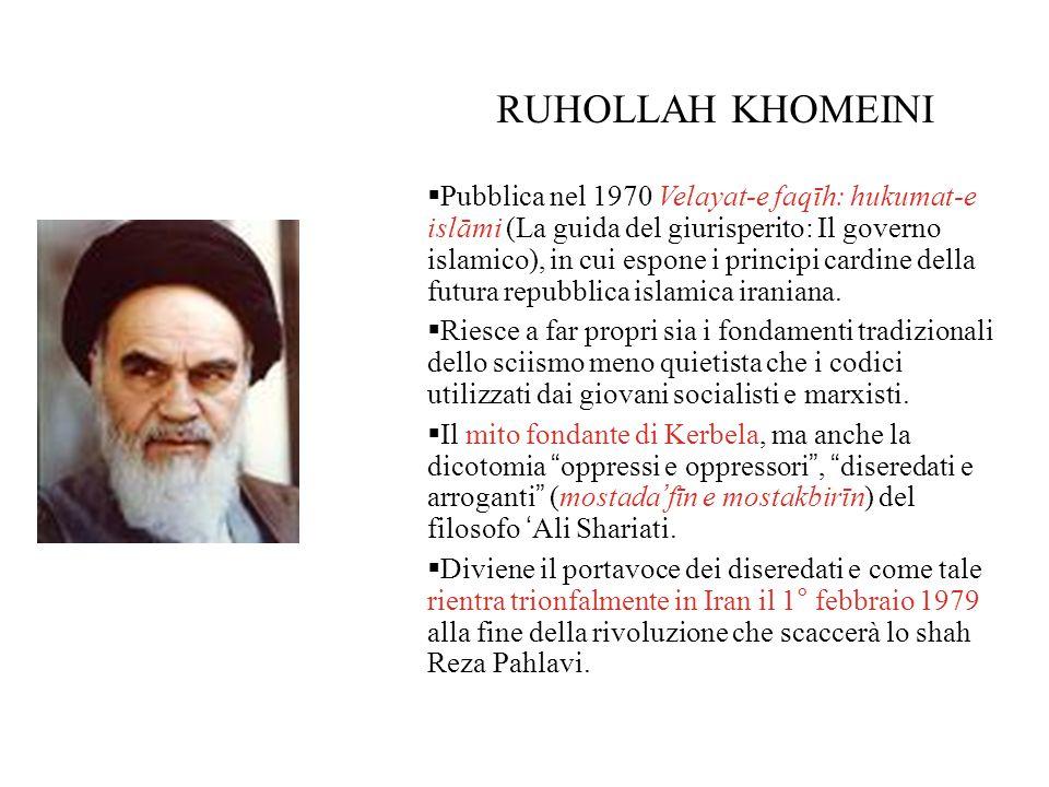 RUHOLLAH KHOMEINI  Pubblica nel 1970 Velayat-e faqīh: hukumat-e islāmi (La guida del giurisperito: Il governo islamico), in cui espone i principi cardine della futura repubblica islamica iraniana.