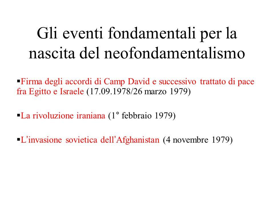 Gli eventi fondamentali per la nascita del neofondamentalismo  Firma degli accordi di Camp David e successivo trattato di pace fra Egitto e Israele (17.09.1978/26 marzo 1979)  La rivoluzione iraniana (1° febbraio 1979)  L'invasione sovietica dell'Afghanistan (4 novembre 1979)