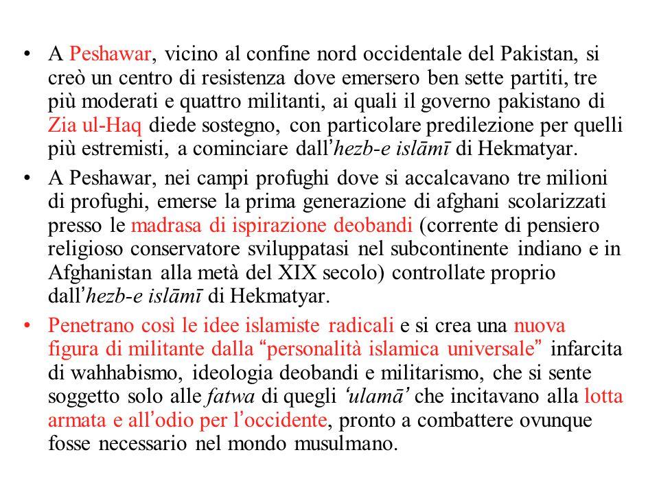 A Peshawar, vicino al confine nord occidentale del Pakistan, si creò un centro di resistenza dove emersero ben sette partiti, tre più moderati e quattro militanti, ai quali il governo pakistano di Zia ul-Haq diede sostegno, con particolare predilezione per quelli più estremisti, a cominciare dall'hezb-e islāmī di Hekmatyar.