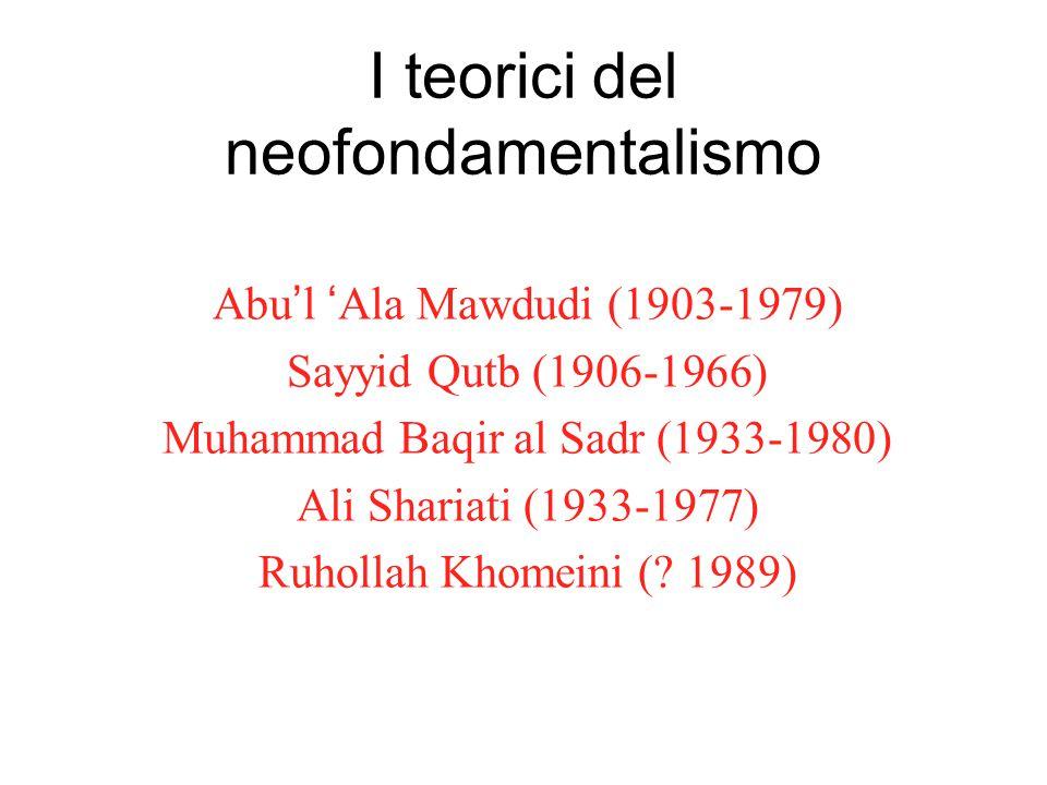 I teorici del neofondamentalismo Abu'l 'Ala Mawdudi (1903-1979) Sayyid Qutb (1906-1966) Muhammad Baqir al Sadr (1933-1980) Ali Shariati (1933-1977) Ruhollah Khomeini (.
