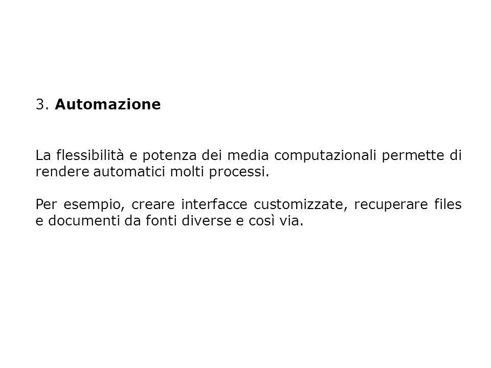 3. Automazione La flessibilità e potenza dei media computazionali permette di rendere automatici molti processi. Per esempio, creare interfacce custom