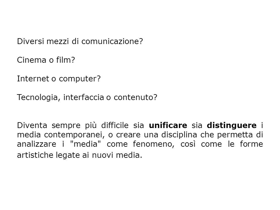 Diversi mezzi di comunicazione. Cinema o film. Internet o computer.