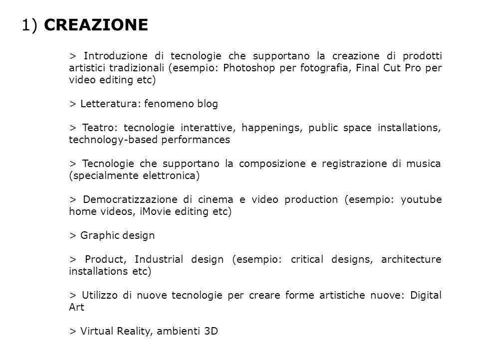 1) CREAZIONE > Introduzione di tecnologie che supportano la creazione di prodotti artistici tradizionali (esempio: Photoshop per fotografia, Final Cut