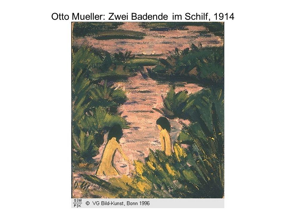 Otto Mueller: Zwei Badende im Schilf, 1914