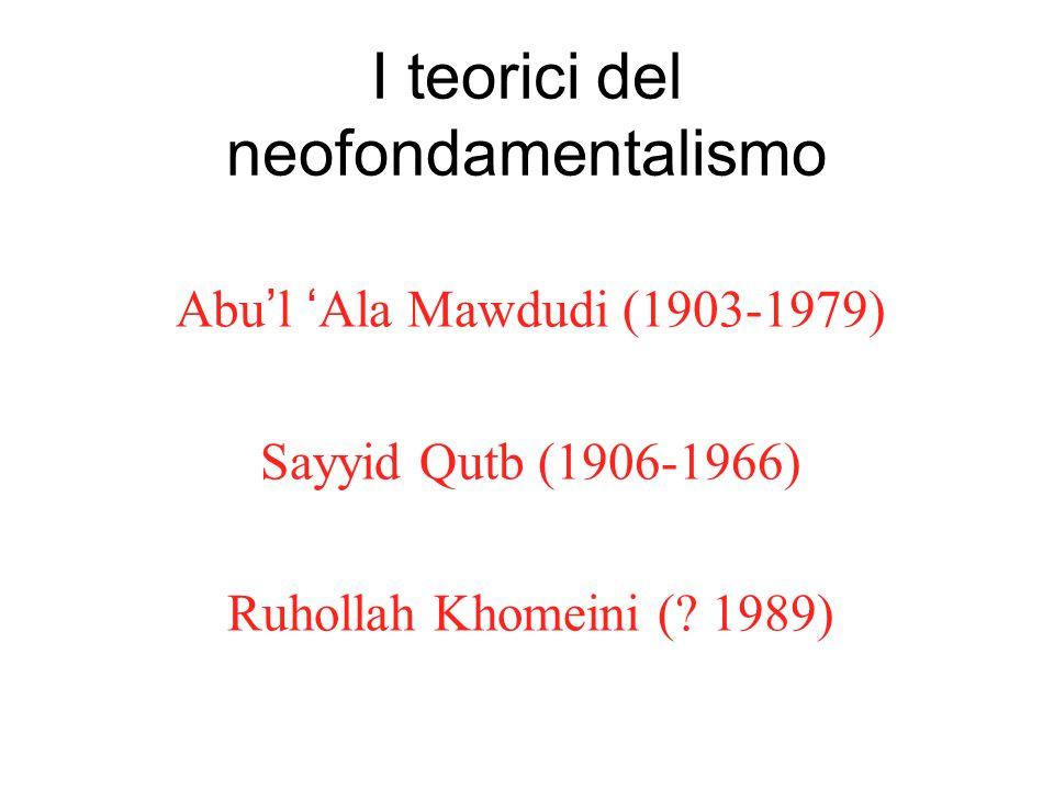 I teorici del neofondamentalismo Abu'l 'Ala Mawdudi (1903-1979) Sayyid Qutb (1906-1966) Ruhollah Khomeini (.