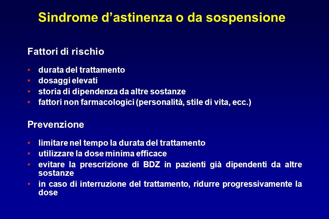 Sindrome d'astinenza o da sospensione Fattori di rischio durata del trattamento dosaggi elevati storia di dipendenza da altre sostanze fattori non far